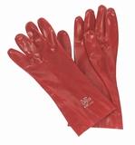 Werkhandschoen rood 27 cm. lang.