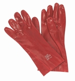 Werkhandschoen rood 45 cm. lang.