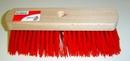 Straatbezem rood kunstvezel  29 cm lang