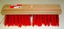 Straatbezem rood kunstvezel  36 cm lang