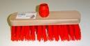 Straatbezem rood kunstvezel met schroefkop lang 29 cm lang